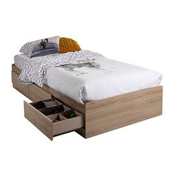 South Shore 10591 Mates Bed with 3 Drawers, Twin, Rustic Oak