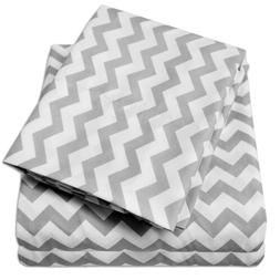 Sweet Home Collection 1800 Count Gray Chevron ZigZag Print M