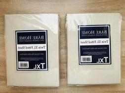 2 BARE HOME SandShell Twin XL Fitted Sheets Microfiber Ivy U