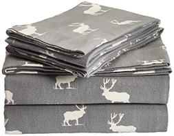 Eddie Bauer Elk Grove Flannel Sheet Set, Queen, Gray