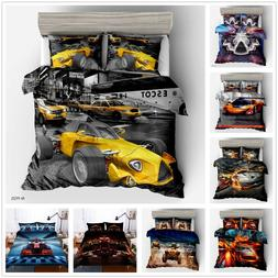 3D Racing Car Quilt Cover Bedding Set Luxury High-speed Rail