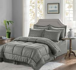 8-Piece Bamboo Design Bed-in-a-Bag Comforter Set All Color ,