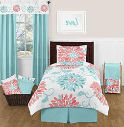 Turquoise and Coral Emma 4 Piece Kids Teen Modern Twin Beddi