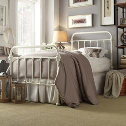 Twin Size Complete Bed Vintage Style Metal Headboard Footboa