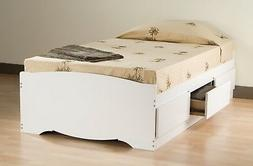 White Twin Mate's Platform Storage Bed with 3 Drawers
