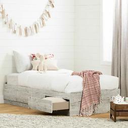 South Shore Aviron Twin Storage Kids Mates Bed in Seaside Pi