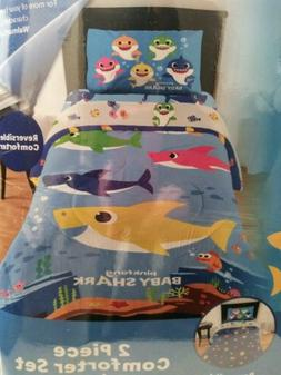 Baby Shark Kids 2pc Twin/Full Reversible Comforter and Sham