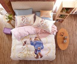 Beauty and the Beast Disney Cartoon Printed Bedding Set for