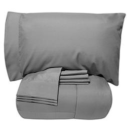 Sweet Home Collection 7 Piece Bed-in-a-Bag Solid Color Comfo