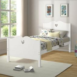 Bed Frame Twin Platform Bed with Wood Slat Support and Headb