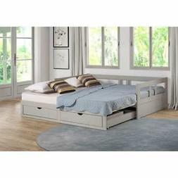 Bed Frame Twin to King Trundle Wood Foundation Storage Drawe