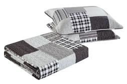 All American Collection Black and Grey Modern Plaid Bedsprea