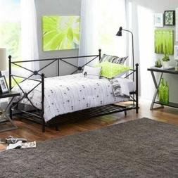 Black Metal Daybed Frame Twin Size Bed WITH TRUNDLE Kids Bed