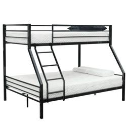 Black Twin over Full Size Metal Ladder Bunk Beds Kid Teen Be