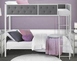 Bunk Beds Twin Stairs Ladder Tufted Upholstered Child Teen T