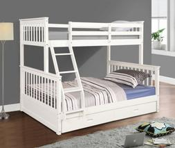 Bunk Beds Twin Over Full Kids Adult Wood Loft Bunkbed W/ Lad