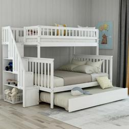 Bunk Beds Twin over Full Stairway Bunk Bed Kid Teen Adults B
