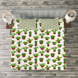 Cactus Quilted Bedspread & Pillow Shams Set, Floral Pattern