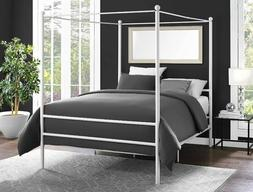 Canopy Bed Frame Full Size Metal Princess Girls Kids Bedroom