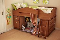 Cherry Brown Twin Size Storage Loft Bed Home Living Bedroom
