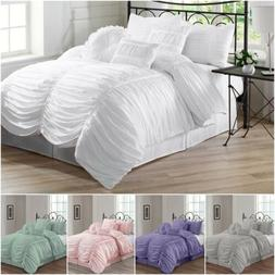 Chezmoi Collection Chic Ruched Ruffle Textured Comforter Set