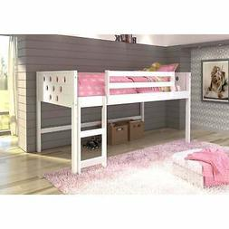 Donco Kids Circles Low Loft Twin Bed White Twin