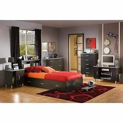 South Shore Cosmos Twin Mates Bed and Headboard, Charcoal an