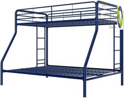 D Twin-Over-Full Bunk Bed With Metal Frame And Ladder, Space