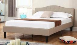 Deluxe Ivory Tufted Linen Fabric Platform Bed with Wooden Sl