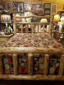 Deluxe Log Bed  Double log side rails Rustic Sturdy Best bui