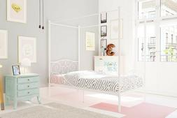 DHP Canopy Bed with Sturdy Bed Frame, Metal, Twin Size - Whi