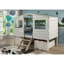 Donco Kids Rustic Sand Twin Tree House Loft Bed With Storage