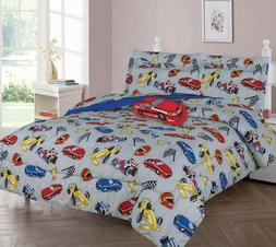DREAMING RACING CAR COMFORTER BED SHEET SET WINDOW PANEL VAL