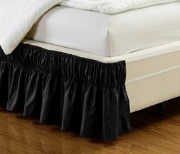 """Fancy Linen Elastic Bed Ruffles Bed-Skirt 14/"""" Drop Solid White All Sizes New"""
