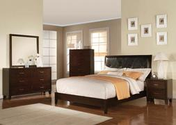 Espresso Finish Faux Leather Twin SIze Bed Bedroom Home Wood
