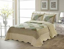 Fancy Linen Over Sized Quilted Coverlet Bedspread Set Floral