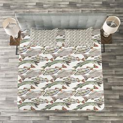 Fishes Quilted Bedspread & Pillow Shams Set, Carp Perch and