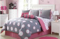 Full or Twin Comforter Set Pink Grey Bedding Bed in a Bag Sh