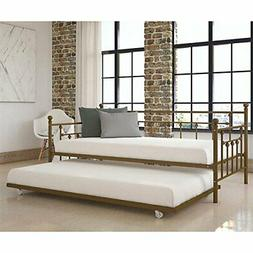 Gold Finish Metal Daybed Frame Twin Bed WITH TRUNDLE Mattres