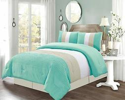 Grand Linen 4 Piece King Size Turquoise Blue/White/Grey Pin