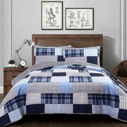 ✅ Lush Decor  Greenville Reversible Quilt 2-Pc Twin Navy