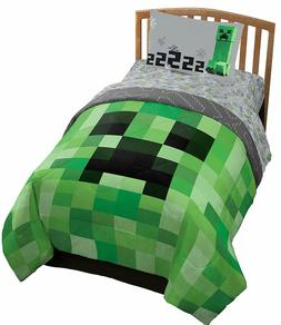Jay Franco Minecraft Creeper 4 Piece Twin Bed Set