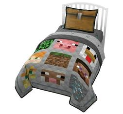 Jay Franco Minecraft Twin Quilt & Sham Set - Featuring Creep