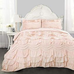 Lush Decor Kemmy Quilt Ruffled Textured 2 Piece Twin Size Be