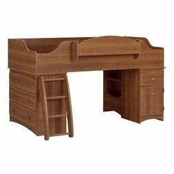 Kid's Twin Size Loft Bed with Storage Units in Morgan Cherry