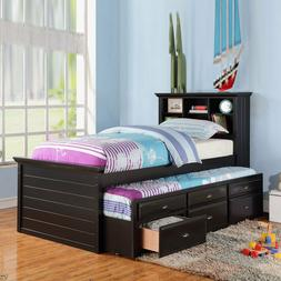 Kids Twin Bed Build in Bookcase Headboard Trundle 3 Storage