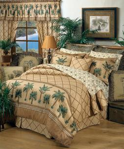 Kona Palm Tree Tropical Comforter Set with Sheet and Curtain