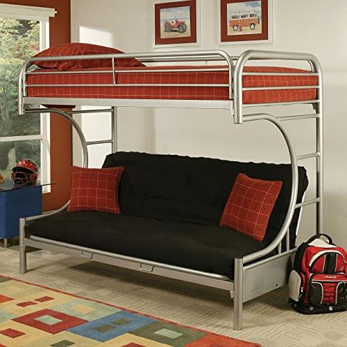 Acme Futon Bunk Bed, Twin X-Large/Queen, Silver