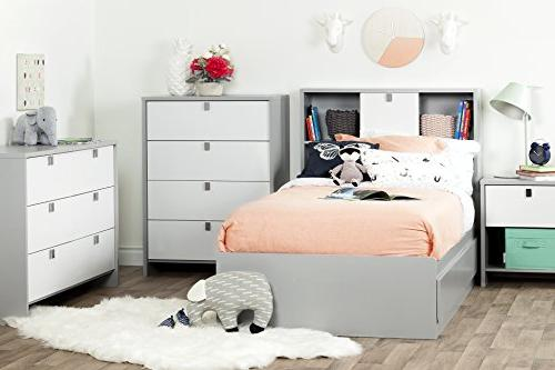 """South 39"""" Cookie Mates 3 Drawers, Gray"""