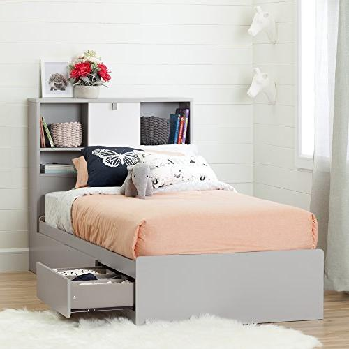 South Shore 10578 Cookie Mates Bed 3 Twin, Soft Gray